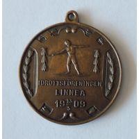 """Спортивная медаль по метанию копья """"Idrottsf0reningen linnea"""" 13/05/1909г. Швеция."""
