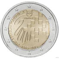 2 евро 2015 Португалия Красный Крест UNC из ролла