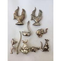 Лот подставок для колец: петух, кошка, слон Металл