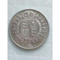 Великобритания 1/2 кроны 1889г серебро ,состояние