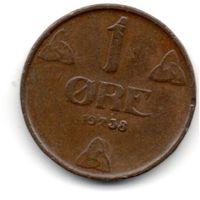 КОРОЛЕВСТВО НОРВЕГИЯ. 1 ЭРЕ 1938.