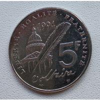 Франция 5 франков, 1994 300 лет со дня рождения Вольтера 3-2-22