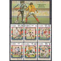 Марки Куба.Спорт,футбол 1986г. 6 марок + блок