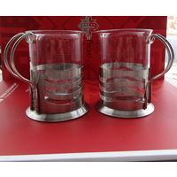 2 стакана в металлических подстаканниках