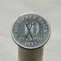 Германия 10 пфеннигов 1921 с надчеканом X