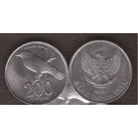 Индонезия 200 рупий 2003 скворец птица фауна отличная UNC