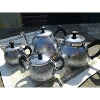 Сервиз чайно-кофейный 50лет СССР из никелированного алюминия