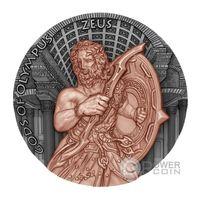 "RARE Ниуэ 5 долларов 2017г. ""Зевс"". Монета в капсуле; деревянном подарочном футляре; сертификат; коробка. СЕРЕБРО 62,27гр.(2 oz)."