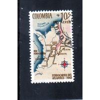 Колумбия.Ми-1034.Карта страны.Открытие железнодорожной линии Боготе-Санта-Марта 1962.