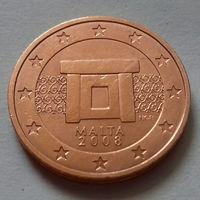 1 евроцент, Мальта 2008 г., UNC
