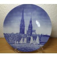 Seltmann Weiden.Schwab..Декоративная тарелка.24 см.Rathaus Hamburg u. St. Nikolaiturm .89 год