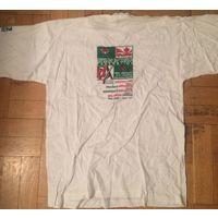 Олимпийские Игры в Нагано 1998. Футболка сборной Беларуси по хоккею с расписанием игр.