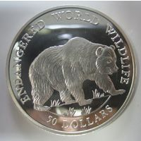 Остров Кука. 50 долларов 1990. Гризли. Серебро (11)