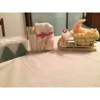 Детские подарски (туалетное мыло+хлопковая салфетка+сувенир)
