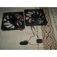 Пара малогабаритных вентилятора с проводкой  выключателем и фишкой для подключения