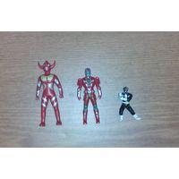 Две фигурки Могучих рейнджеров и злодей. Nero - Black Power Ranger (Могучие рейнджеры, Power Rangers). No B5. 1995 Saban. И фигурка Rosso или Triassic. (токусацу, Турборейнджеры, Могучие морфы)