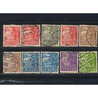 Дания 1933-40 Каравелла Квадратный фон Стандарт #202-3,206-9,262