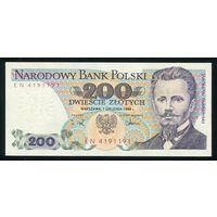 Польша. 200 злотых образца 1988 года. Серия EN. P144c. UNC