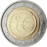 2 евро 2009 Португалия 10 лет Экономическому и валютному союзу UNC из ролла