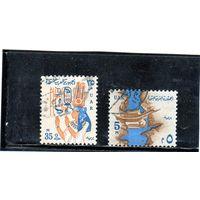 Египет. Mi:EG 721, 726. Нил Дам Саад Али в Асуане;  Королева Нефертариб. Серия: Национальные символы. 1964.