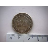 Стрейтс Сетлментс 20 центов. 1910 г. Эдвард VII