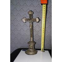 Крест-лампада старинный силумин с остатками посеребрения. Католический.