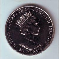 Фолкледские острова. 50 пенсов 1992 г.
