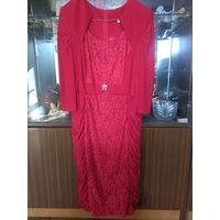 Нарядное праздничное красное платье 56 размера