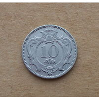 Австро-Венгрия, 10 геллеров 1908 г., медно-никель