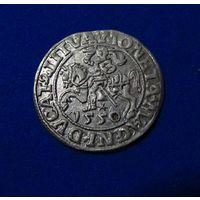 Полугрош 1550, Жигимонт Август, Вильно. Окончания легенд: Ав - LI, Рв - LITVA. Штемпельный блеск  , коллекционное состояние