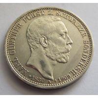 Германия, Шварцбург Зондерхаузен, 3 марки, 1909, траурные, серебро