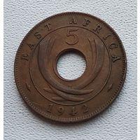 """Британская Восточная Африка 5 центов, 1942 """"SA"""" - Претория 7-12-27"""