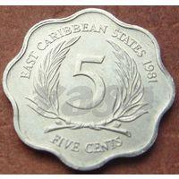 5405: 5 центов 1981 Восточные Карибы