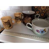 Посуда 3 шт чашки с котиками и цветами и сливочник МФЗ СССР ( Каждая с дефектом, есть трещинка, как на фото) Цена за все