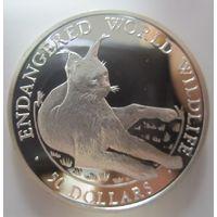 Остров Кука. 50 долларов 1990. Рысь. Серебро (83)