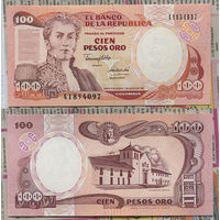 Распродажа коллекции. Колумбия. 100 песо 1991 года (P-426Аa - 1982-1992 Issue)