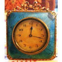 Будуарные или для туалетного столика часы, бронза эмаль гильош 19 век Российская Империя