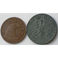 Австрия, 2 монеты: 1 грош 1936 (бронза), 5 грошей 1968 (цинк)