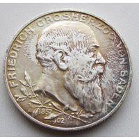 Германия, Баден, 2 марки, 1902, серебро