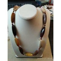 Женские бусы натуральный камень из разноцветной Морской гальки.