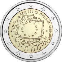 2 Евро Италия 2015 30 лет флагу Италии UNC из ролла