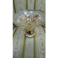 Конфетница(фруктовница). Ваза Богемия, Чехия. Хрусталь. Высота 16см, диаметр 20см.