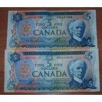 2 купюры по 5 канадских долларов