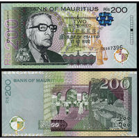 Маврикий 200 рупий 2013 года. Состояние UNC! Редкая!
