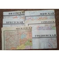 Карты административного деления областей БССР. 1979-е. 6 шт. Цена за все.