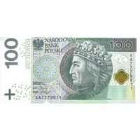 Польша 100 злотых 2012 UNC
