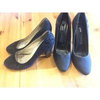 Туфли на 37 размер 2 пары за 50,00 Классические туфли из натуральной замши на высоком каблуке 8 см, каблук в стразах, стелька 24,5 см, устойчивый каблук, цвет черный.