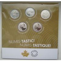 Канада 25 центов 2020 г. 5 штук разной штамповки. Тираж 15 тыс.
