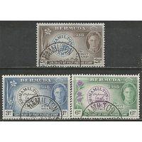 Бермуды. Король Георг VI. 100 лет маркам Бермуд. 1949г. Mi#122-24. Серия..
