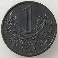 Богемия и Моравия (немецкий протекторат), 1 крона 1943 года, цинк, KM#4